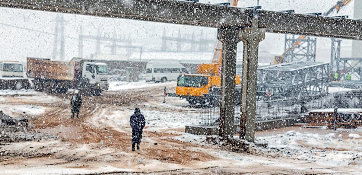 Winter construction site