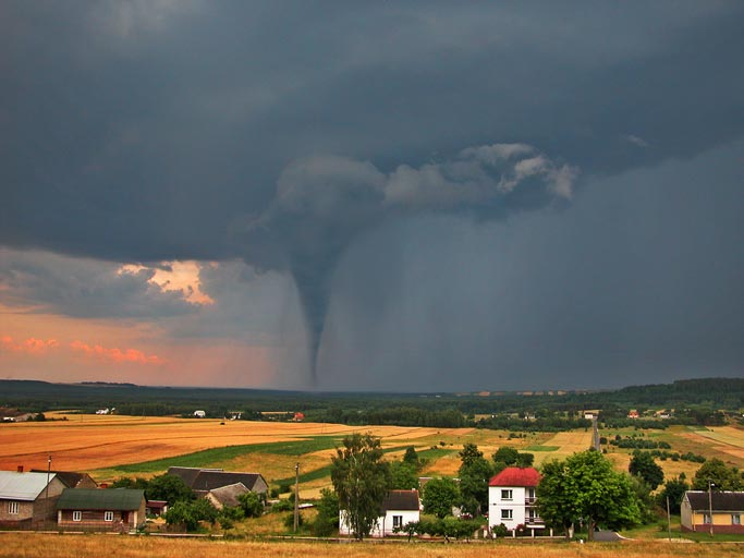 tornado on the countryside